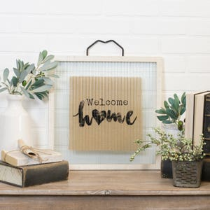 """Wood and glass sign """"WELCOME HOME"""""""