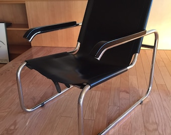 Marcel Breuer B35 Lounge Chair Designed 1928 29, Manufactured By Thonet,  Chromed Tubular