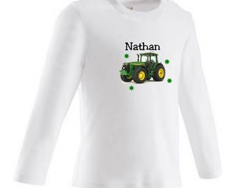 tee shirt baby tractor personalized with name