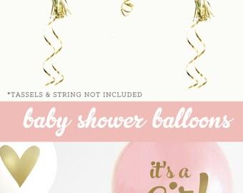 Girl Baby Shower Gift Girl - New Baby Girl Gift - Its a Girl Baby Shower Ideas - Pink Gold Baby Shower (EB3110BBY) - SET of 3 Balloons