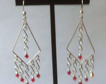 Unique- Austrian Crystal  Sterling Silver Chandelier Earrings
