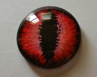 Red Hand Painted Glass Dragon Eye Cabochon 30 mm Round Glass Eye Fantasy Jewelry Supplies Fastasy Steampunk Sci Fi Cosplay Doll Eye Pendant