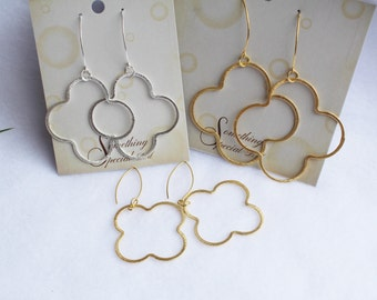 """Larger Quatrefoil Clover Earrings Gold, Silver and Gunstock, Three Large Sizes 1 3/4"""", 2"""", and 2 1/2"""" to Choose From"""