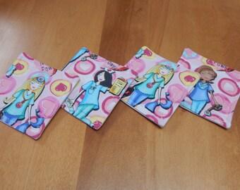 Set of 4 Fabric Drink Coasters Nurse
