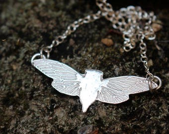 sterling silver moth necklace - butterfy pendant - insect necklace - flying moth jewelry - MOTH