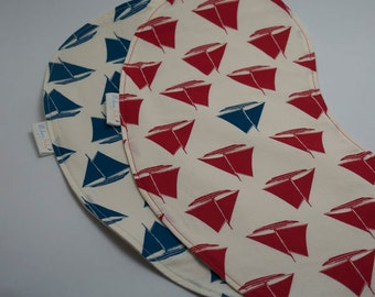 Organic Baby Burp Cloth Set (2) - Drool Proof! - Blue & Red Sailboats