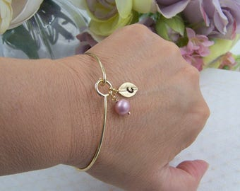 Personalized Bangle Bracelet, Pearl Bangle Bracelet, Leaf Bangle Bracelet, Custom Pearl Jewerly, Bridesmaids Gifts, Gift for Mom