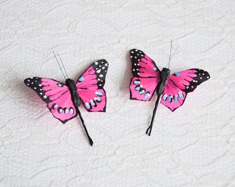 Pink Butterfly Hair Pins, butterfly hair clips, festival hair pins, bridal hair pins, flowergirl hair pins, spring wedding, bridesmaid hair