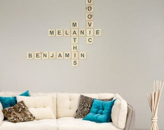 Scrabble letter giant Melanie recycled pallet wood