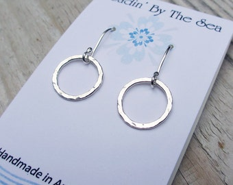 Dangle Hoop Earrings, Silver Circle Earrings, Sterling Silver, Small Hoop Earrings, Hammered Circle Earrings, Modern Jewelry, Minimalist