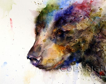 BLACK BEAR Watercolor Nature Art Print, Bear Painting by Dean Crouser