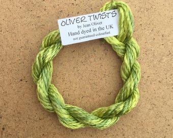 Silk Filament No.82 Chartreuse, Embroidery Thread, Hand Dyed Embroidery Thread, Artisan Thread, Textile Art, No.82 Chartreuse
