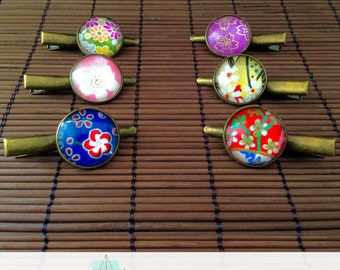 Hair clips with origami paper decoration - multicolored hair clips - hair tongs