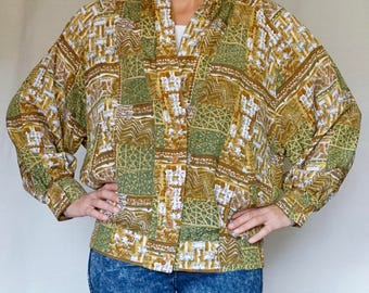 VINTAGE 80's printed jacket//Cotton//S size//Made in West Germani