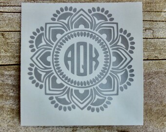 Mandala Monogram, Mandala Decal, Monogram Decal, Flower Monogram, Monogram Yeti, Circle Monogram, Mandala Yeti, Monogram Vinyl Decal
