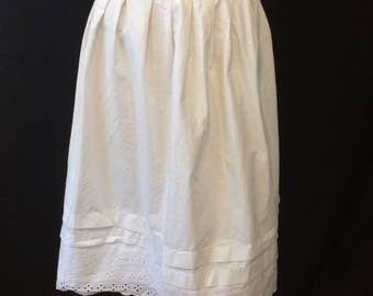 Vintage Edwardian White Cotton Petticoat Slip Skirt Eyelet Hem Embroidery // Handmade Early 1900's Petticoat Slip