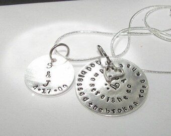 Hand stamped jewelry, personalized jewelry, engraved jewelry, couples jewelry, God bless the  road,  hand stamped, custom jewelry