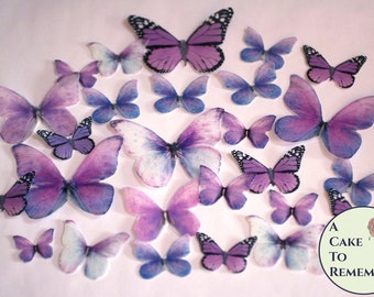 26 purple spring wedding cake decorations for a woodland wedding cake or a butterfly wedding cake. Edible butterflies for rustic cake topper