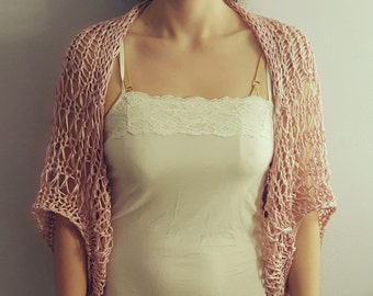 Loose knitted shrug/ wrap / capelet / bolero. Hand knitted dusty pink summer / spring cotton shrug. Available in many colors.
