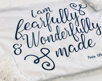 Fearfully and Wonderfully Made Baby Blanket Lovey, Baby Boy Minky Lovey Blanket, Gender Neutral Blanket, Ready to Ship, Baby Shower Gift