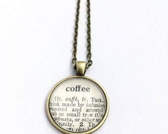 COFFEE Vintage Dictionary Word Pendant