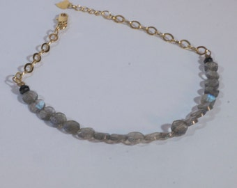 Faceted Coin Labradorite and Black Spinel Bracelet with Gold Filled Chain and Heart Charm