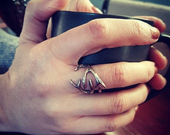 Deer Antler Ring - Woodland Hunting Trophy Ring - Solid Bronze - Silver Plated - Sterling Silver - Sizes 3.5 to 9 - 075