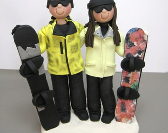 DEPOSIT for a Customized Snowboarding Skiing Wedding Cake Topper polymer clay