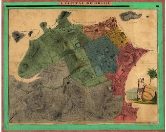 Map of Rio De Janeiro A capital do Brasil 1831 Antique Map