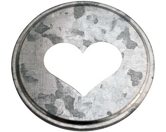 Mason Jar Heart Lid Insert / Galvanized / choose from regular or wide mouth/ 5-pack / Mason jar Wedding decor / Hearts