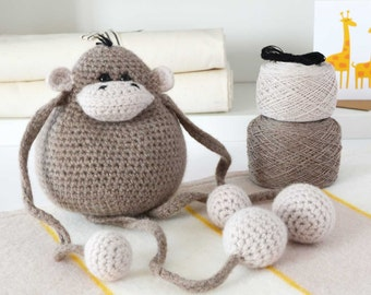 Amigurumi Monkey Crochet Kit, Crochet Animal Pattern, Crochet Monkey Pattern, Crochet Kit,DIY Crochet Kit, Crochet Gift