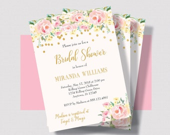 BLUSH PINK BRIDAL Shower Invitation, Pink and Gold Shower Invitation, Watercolor Floral Shabby Chic Bridal Shower Invitation, Blush Wedding