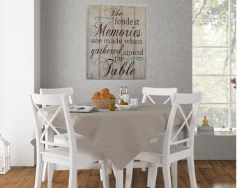 Nice The Fondest Memories Are Made When Gathered Around The Table Pallet Sign Dining  Room Decor Wall