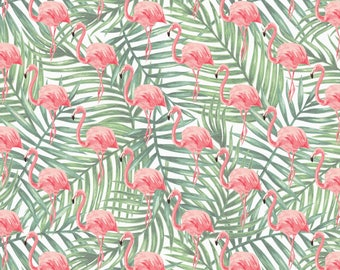 Flamingo Wrapping Paper Sheet, Flamingo Palm Leaf Gift Wrap, Flamingo Palm Leaf Craft Paper, Flamingo Scrapbook Paper, Flamingo Paper