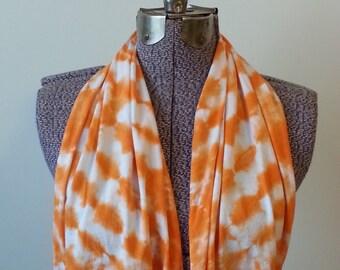 Tie Dye Infinity Scarf -- Orange Creamsicle