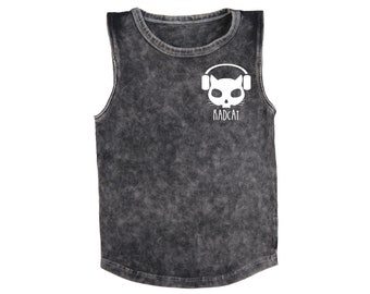 Stonewash Skelly Cat Muscle Tee