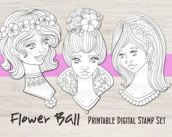 Flower Ball Girls Digital Stamp Set of 3 Black & White Elements, Printable Digi Stamps, Digital Girl Faces PDF, Collage Printable Windy Iris
