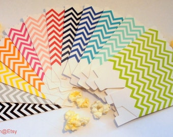 24  Chevron Popcorn Boxes - Your Choice of Colors