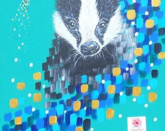 Badger abstract painting, wildlife painting, abstract art, free postage, statement art, badger art, wildlife art, badger, animal art
