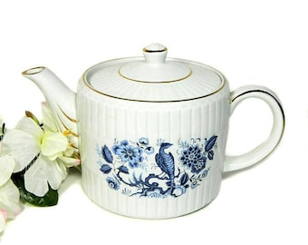 Ellgreave Wood & Sons Ironstone Teapot Blue Peacock