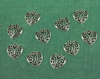 Silver Filigree Heart Charm - Package of 10 pieces