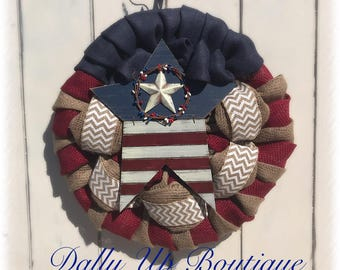 Star USA Wreath- 4th of July Wreath- Red White, Blue Burlap Wreath-  Wreath- Patriotic burlap wreath- Millitary Wreath - Chevron Wreath