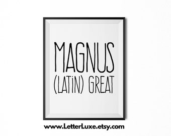 Magnus Name Meaning Art - Printable Baby Shower Gift - Nursery Printable Art - Digital Print - Nursery Decor - Typography Wall Decor