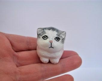 Percival, the gray & white Persian kitten - miniature hand sculpted clay folk art shabby chic chubby kitty cat animal totem figurine