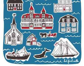 Lunenburg Landmarks Art Print - Nova Scotia, Bluenose, Seaside, Souvenir