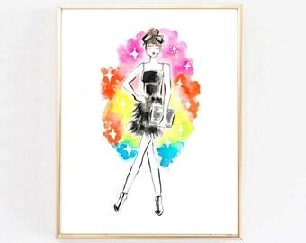 "Fashion Illustration Print ""Party Girl""Print,  Art Print, Hearts, Girls Room Print, Girls Print, Home Decor, Vanity Art, Watercolor"