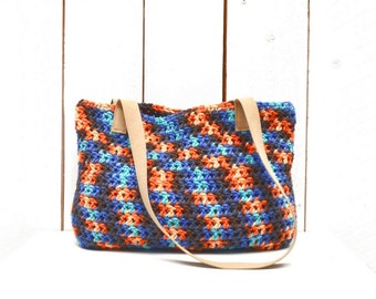 Crochet Shoulder Bag 50% OFF Boho Handbag Purse Cotton Suede Leather Strap Market Tote Bag Beachy Blue Orange Beige One Of A Kind