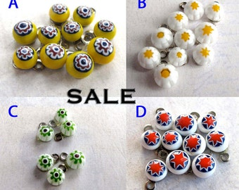 Vintage Colorful Themed Italian Millefiore Glass Charms - You Choose (20X) (P553) - 50% off