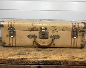 Vintage Brown Striped Metal Luggage Suitcase, Large Suitcase, Brown Suitcase, Striped Suitcase, Luggage Bag, Large Suitcase, Vintage Luggage