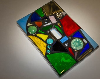STAINED GLASS MOSAIC Light Switch Cover - Rainbow Mix - single, double, triple, outlet, or decora gfci - Made to order- each one is unique!